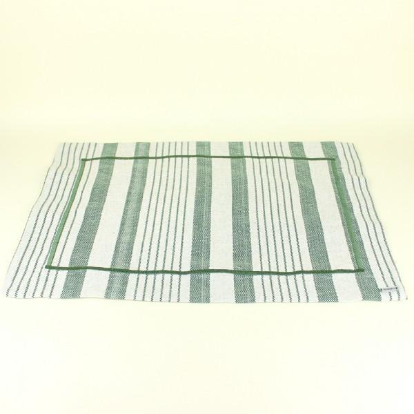 Jogo Americano em Tecido Linen Stripe Oliva