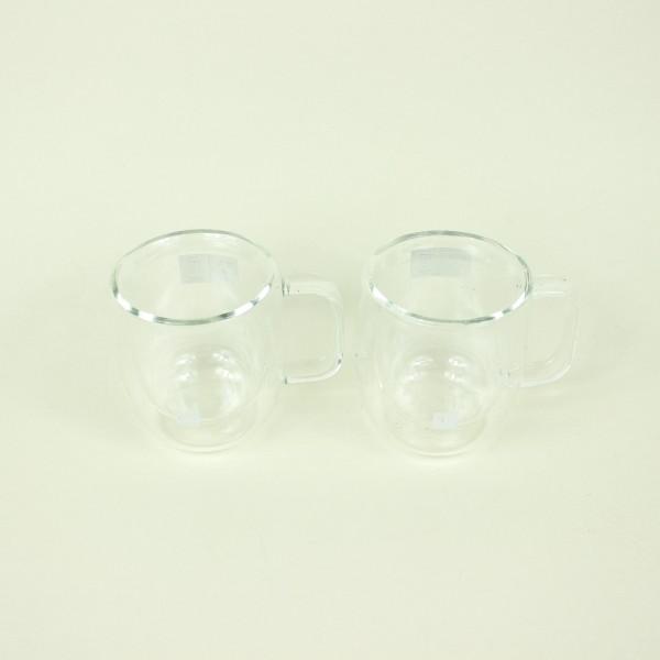 Jogo de 2 Canecas de Vidro Parede Dupla Espresso 80ml
