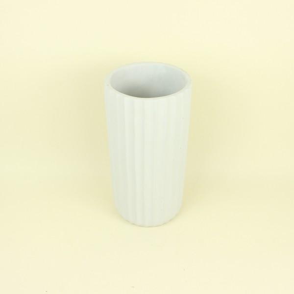 Cachepot Frisos Off White em Cimento Long
