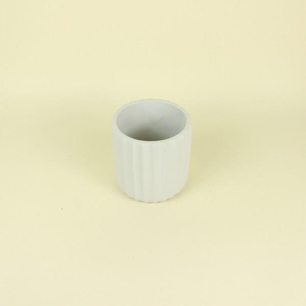 Cachepot Frisos Off White em Cimento P
