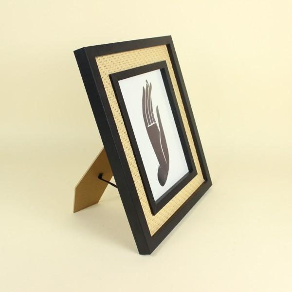 Porta Retrato Preto com Rattan 15x20