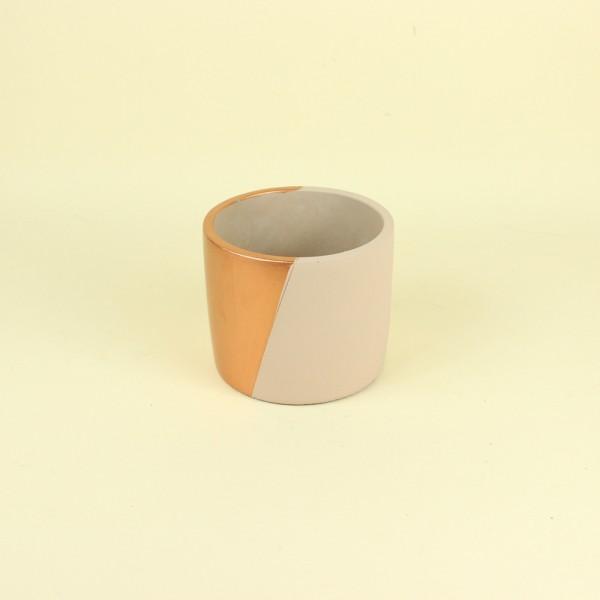 Cachepot Nude e Cobre Diagonal em Cimento M