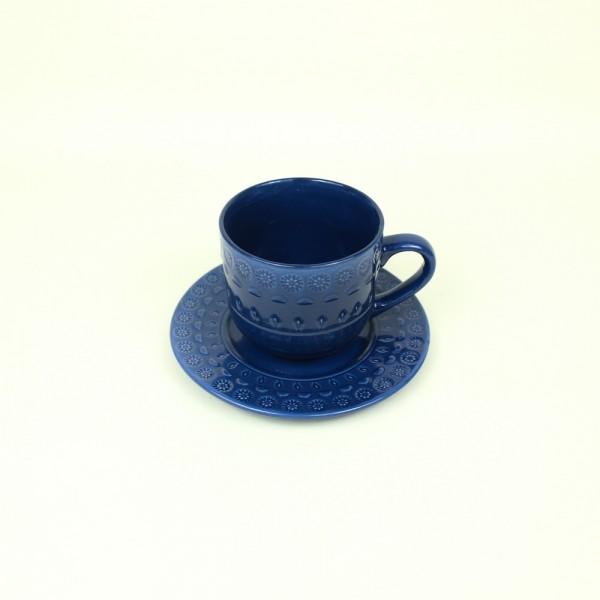 Xícara para Chá de Porcelana Grace Azul 250ml