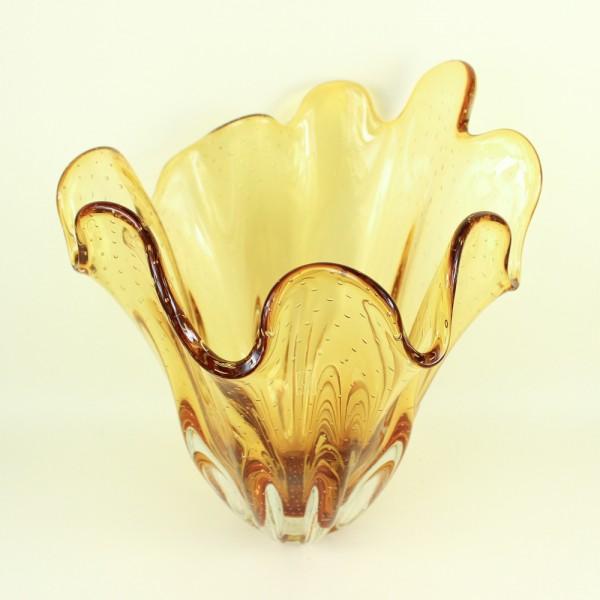 Vaso Lenço em Cristal Murano Âmbar