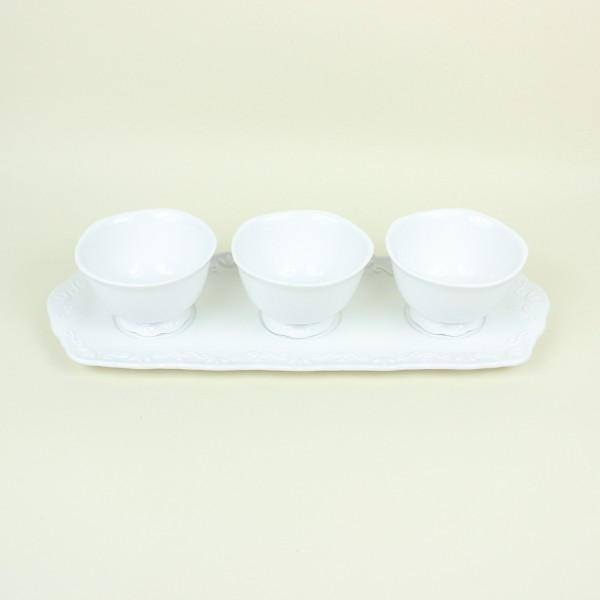 Petisqueira de Porcelana Alto Relevo 3 Bowls