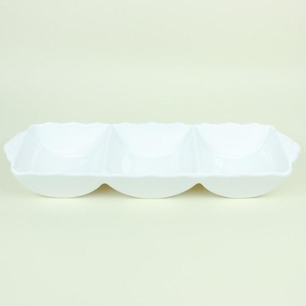 Petisqueira de Porcelana Branco Detalhes na Borda