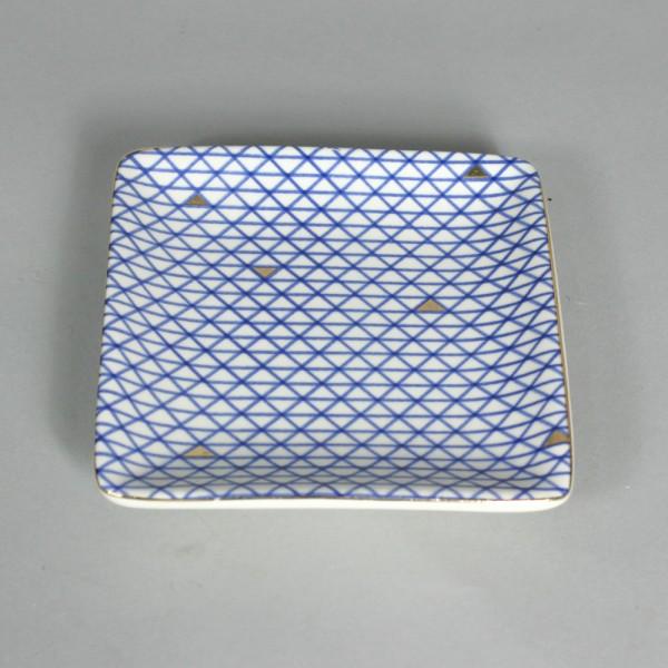 Mini Prato em Cerâmica Azul Geométrico
