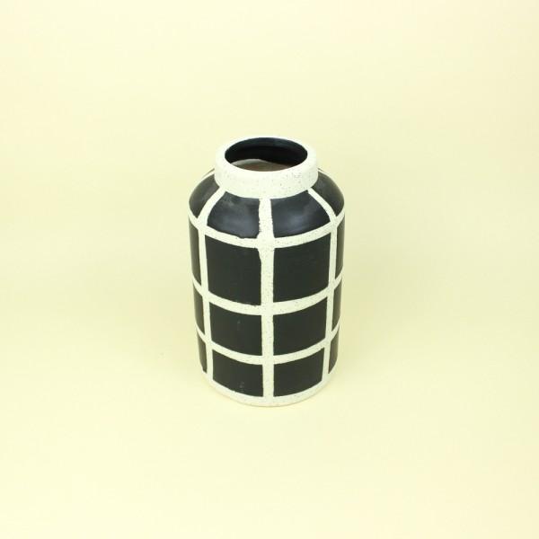 Vaso Cerâmica Geométricos Preto e Branco P