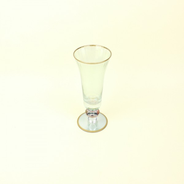 Taça de Cristal Champanhe Degradê Azul com Borda Dourada