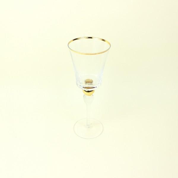 Taça de Cristal para Vinho Tinto com Detalhe Dourado