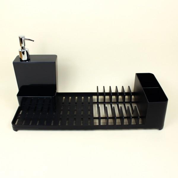 Kit Escorredor de Louças e Dispenser Preto