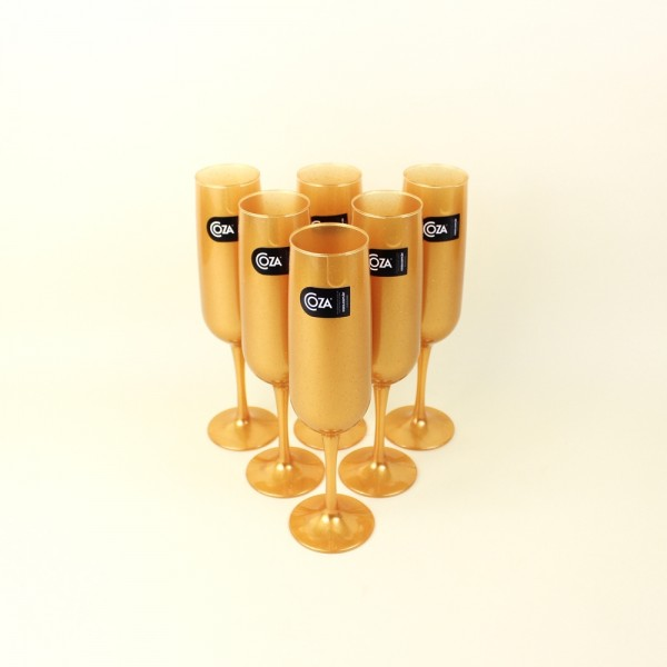 Jogo 6 Taças para Espumante Fun Dourada