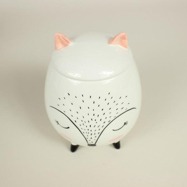 Potiche Decorativo Ceramica Sleeping Fox Branco 10,4x,10,4x14Cm