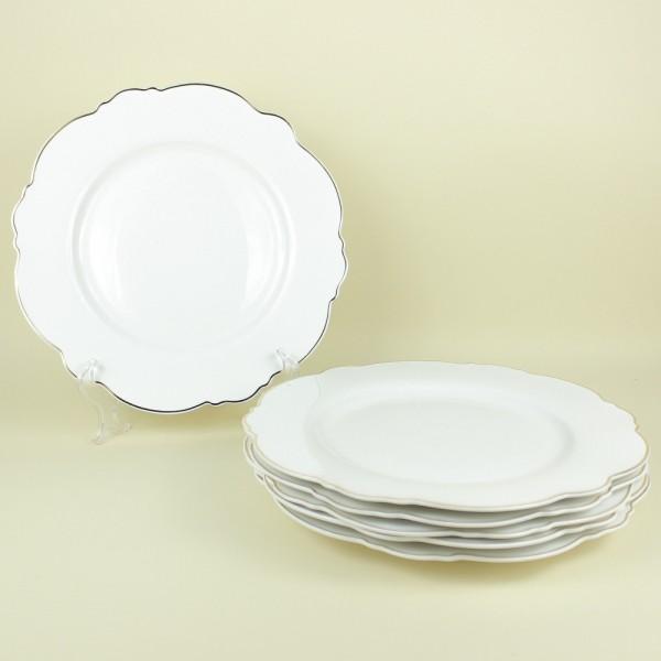 Jogo de 6 Pratos Rasos de Porcelana Branco com Fio Dourado Md