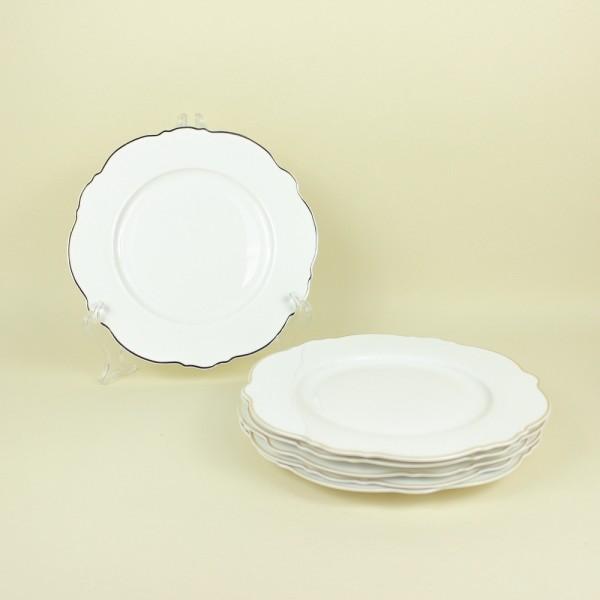 Jogo de 6 Pratos para Sobremesa de Porcelana Branco com Fio Dourado Md