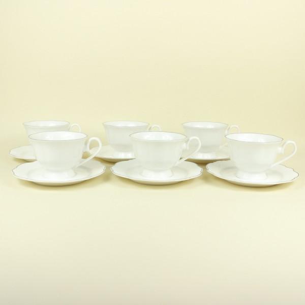 Jogo de 6 Xícaras para Chá de Porcelana Branco com Fio Prateado Md 180ml