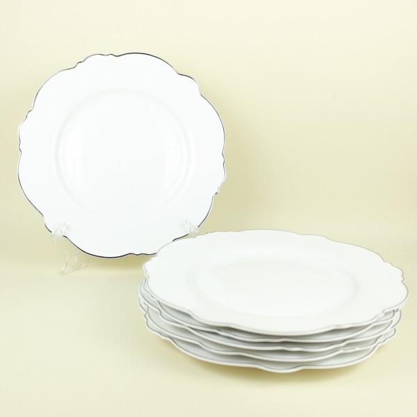 Jogo de 6 Pratos Rasos de Porcelana Branco com Fio Prateado Md