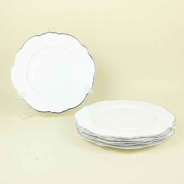 Jogo de 6 Pratos para Sobremesa de Porcelana Branco com Fio Prateado Md