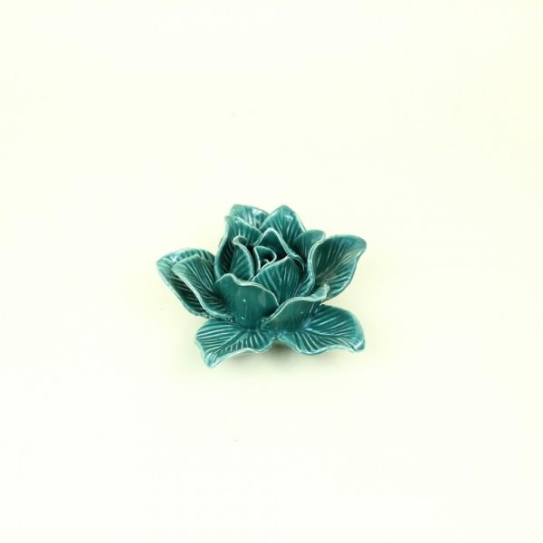 Flor de Cerâmica Decorativa Verde Aberta P