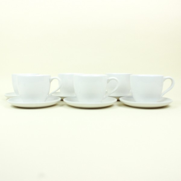 Jogo de 6 Xícaras para Chá de Porcelana com Pires Luiza