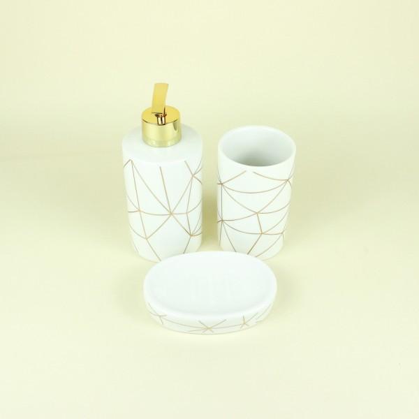 Jogo de Banheiro em Cerâmica Branco e Dourado 3 Peças