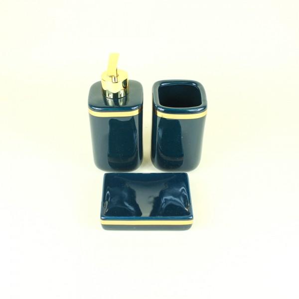 Jogo de Banheiro em Cerâmica Verde e Dourado 3 Peças