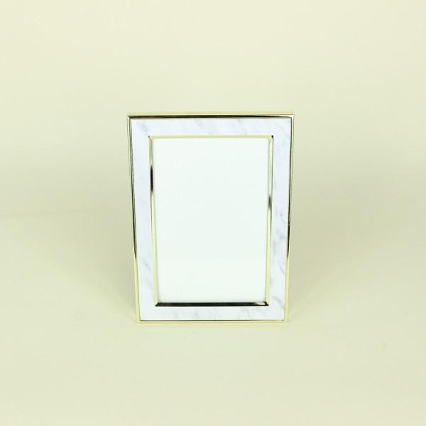 Porta Retrato Marmorizado Branco em Metal 10x15