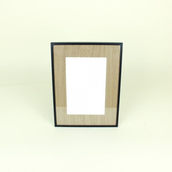 Porta Retrato em Metal com Maderinha e Borda Preta 10x15