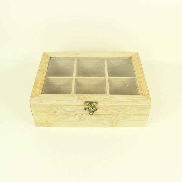 Caixa em Bambu Retângular 6 Divisórias