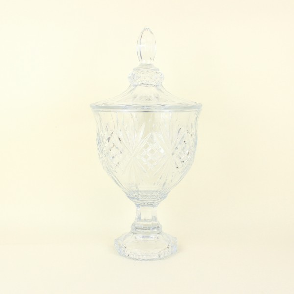 Potiche Decorativa de Cristal com Pé Dublin