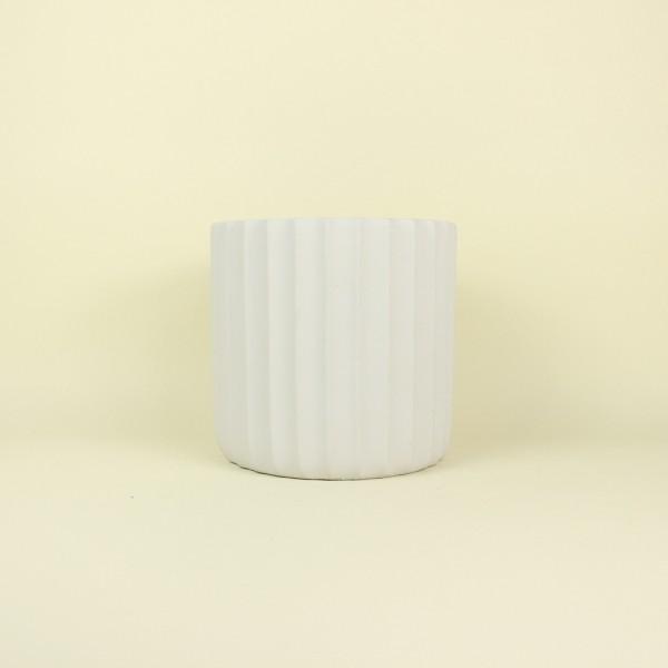 Cachepot Frisos Off White em Cimento M