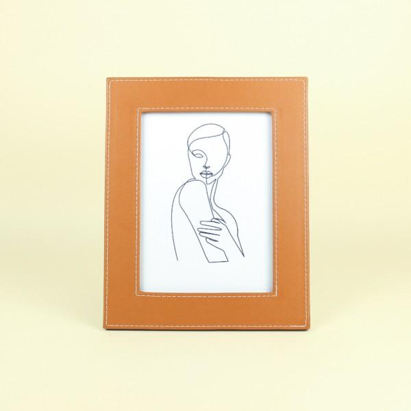Porta Retrato Revestimento Couro Sintético Marrom 15x20