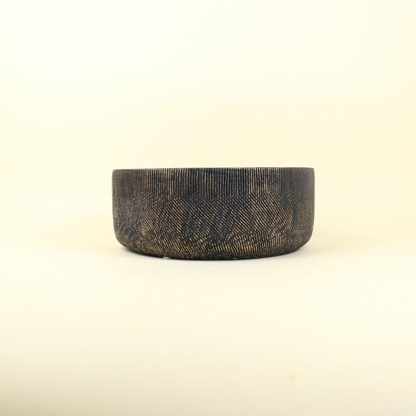 Cachepot Preto Textura Dourada em Cimento M