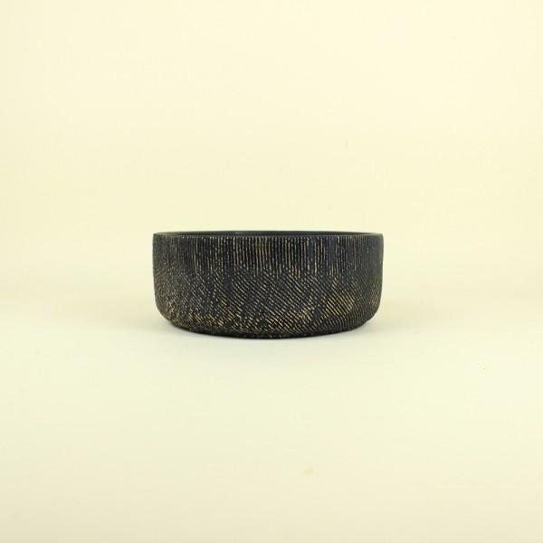 Cachepot Preto Textura Dourada em Cimento P