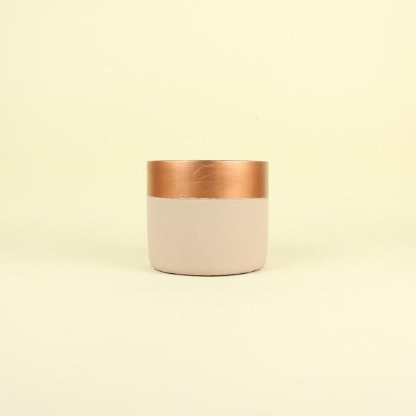 Cachepot Nude e Cobre Alto em Cimento M