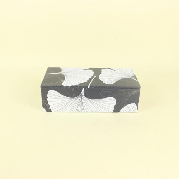 Caixa Decorativa Flores Preto e Branco P