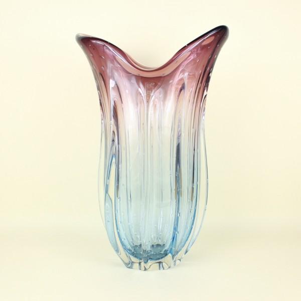 Vaso em Cristal Murano Azul e Lilás