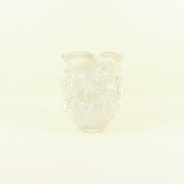 Vaso Mini em Cristal Murano Pérola com Relevo