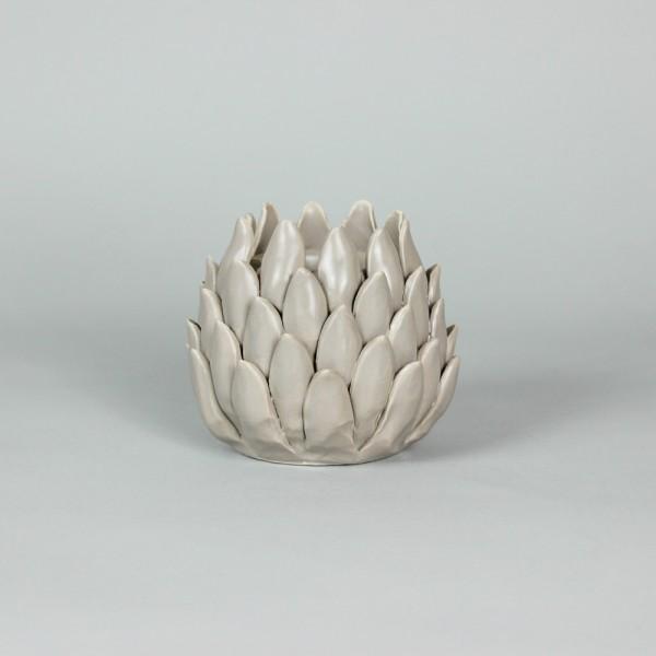 Porta Velas Cinza em Cerâmica Pétalas Finas