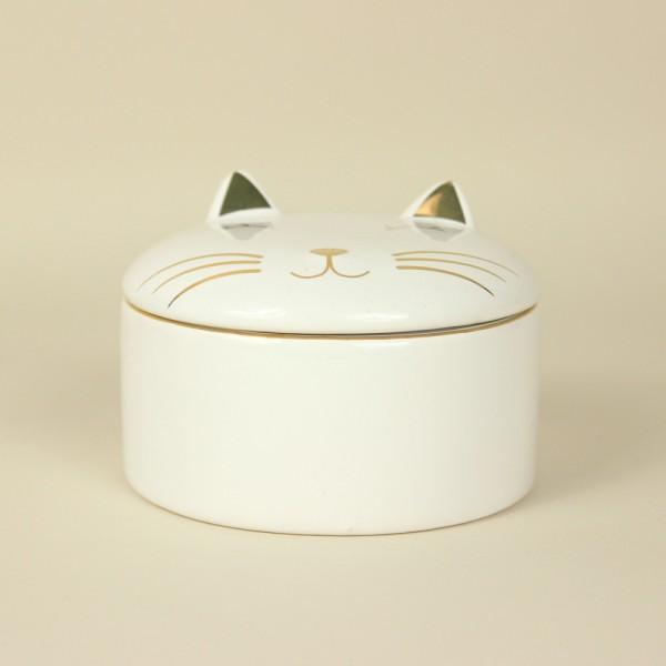 Caixa Redonda Gato em Cerâmica