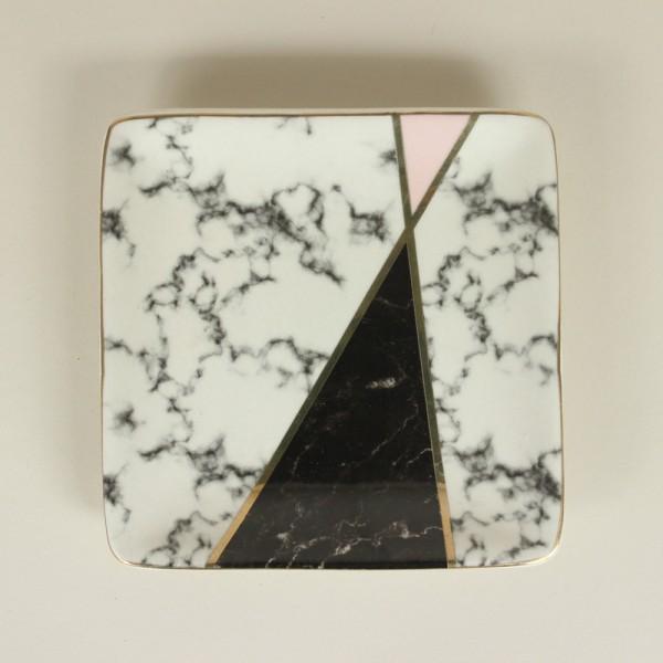 Mini Prato em Cerâmica Estilo Mármore Quadrado P