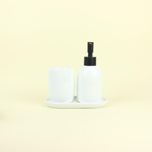 Jogo de Banheiro de Cerâmica Londres Branco e Preto 3 Peças