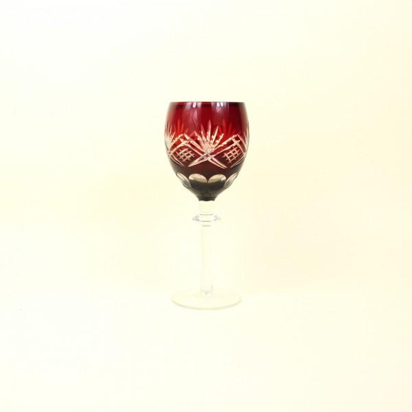 Taça Cristal Lapidado Vermelho 210ml