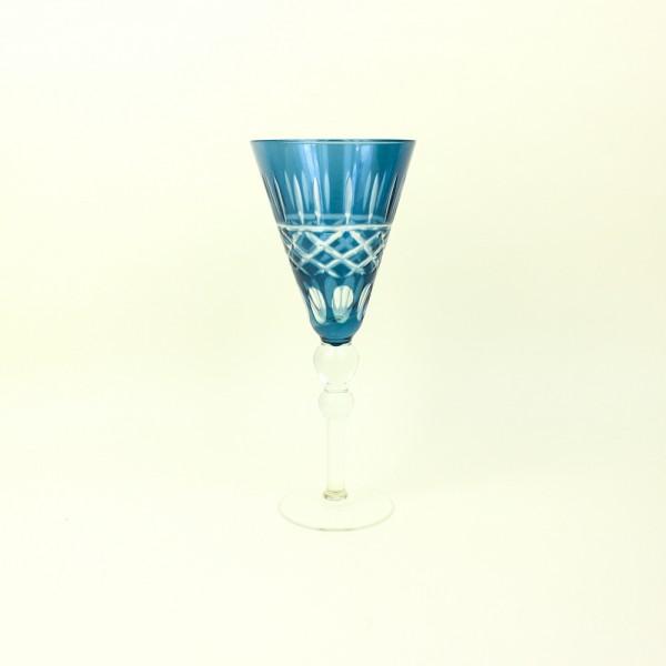 Taça de Cristal para Vinho Azul Lapidada