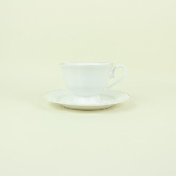Jogo de 6 Xícaras para Chá de Porcelana Branco com Fio Dourado Md 180ml