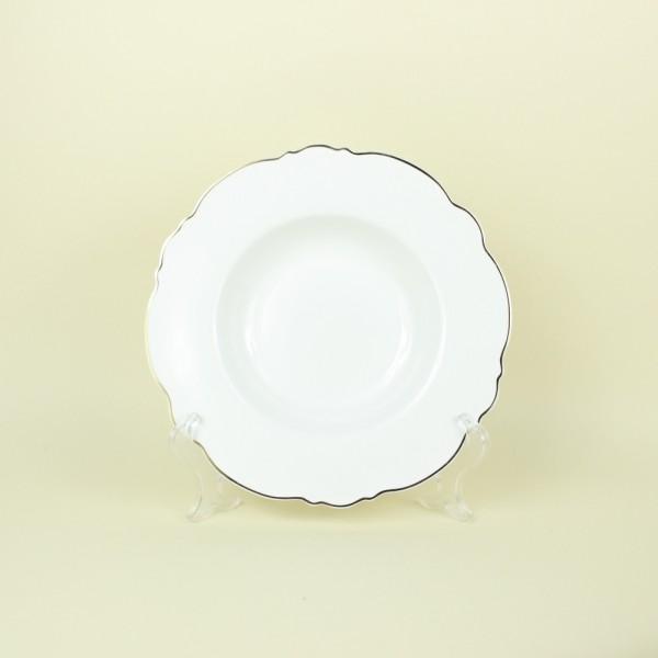 Jogo de 6 Pratos Fundos de Porcelana Branco com Fio Dourado Md