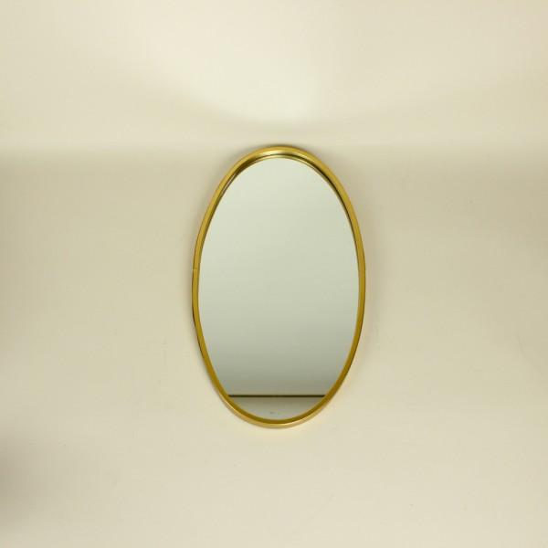 Espelho Parede Metal Oval Shine Frame Dourado