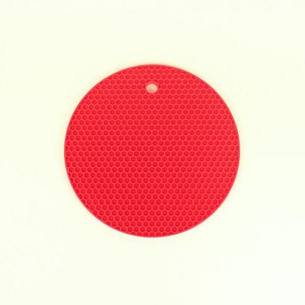 Descanso de Panela Redondo de Silicone Vermelho
