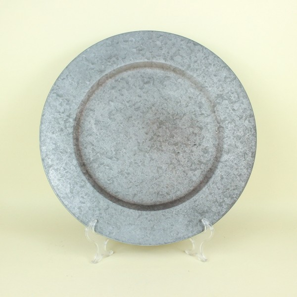 Sousplat Metal Borda Lisa Cinza