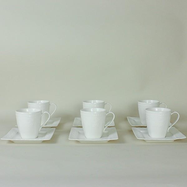 Conjunto de 6 Xícaras para Chá Renda Coração